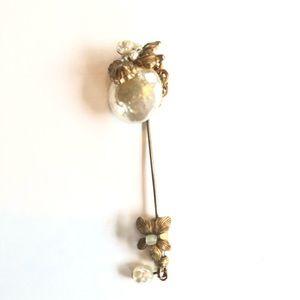VINTAGE Miriam Haskell Fresh Water Pearl Hat Pin